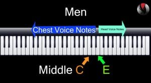 What is Chest Voice - For Men All notes below the E above middle C