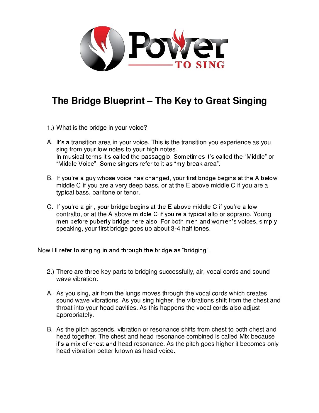 The Bridge Blueprint Video 1 PDF - Power To Sing